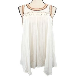 Lauren Conrad White Peasant Boho Sleeveless Tunic